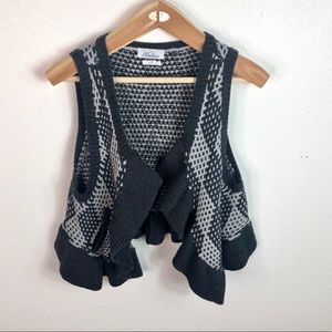 Madewell Wallace Knit Open Cardigan Ruffle Vest Md